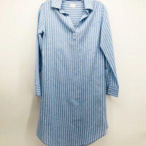 POU NOU | LINEN STRIPE SHIRT DRESS